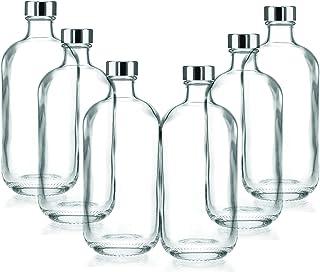 BrandPrint, Set di 6 Bottiglie in Vetro per Acqua Modello Artemide 1 Litro con Tappo a Vite in Alluminio. Per Bevande e Su...