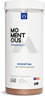 Essential Plant-Based Protein Powder, 20 Servings Per Jar for Essential Everyday Use, Vegan, Gluten-Free, Non-GMO, NSF Certified Live Momentous (Chocolate)