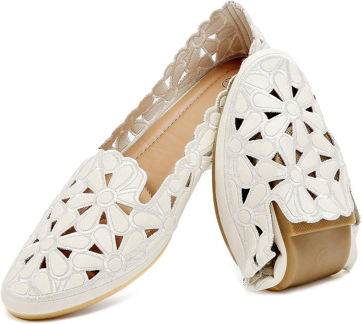 HEAWISH Women's Floral Ballet Flats High quality new for Sacramento Mall O Women Beige Slip Black