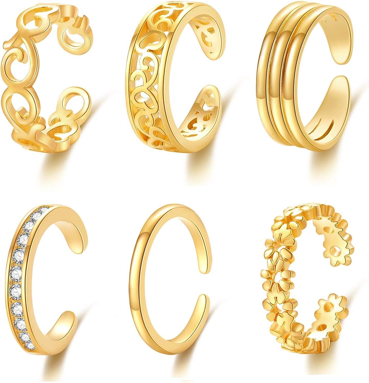 suoer 6pcs Adjustable Toe Rings for Women Flower Love Line Open Tail Ring Women Girl Beach Foot Jewelry Set