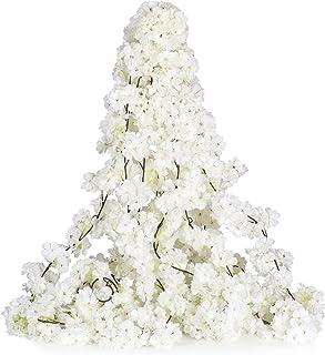 YQing 2 Pièces Artificielles Cerisier Fleurs Vigne Fausse Fleurs Girlande en Soie, Artificielle Grimpante Plant Vignes Fle...