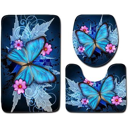 BVWSBGF Ensemble Tapis de Bain 3 Set Motif Papillon Bleu WC Tapis Contour Tapis de Salle antidérapant de Doux et Confortable Lavable