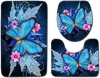 BVWSBGF Ensemble Tapis de Bain 3 Set Motif Papillon Bleu WC Tapis Contour Tapis de Salle antidérapant de Doux et Confortab...