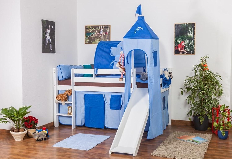 Kinderbett Hochbett Andi Buche Vollholz massiv mit Rutsche und Turm wei lackiert inkl. Rollrost - 90 x 200 cm