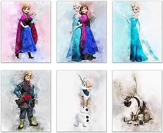 Frozen Watercolor Wall Decor - Set of Six (8x10) Poster Prints - Elsa Anna Olaf Kristoff
