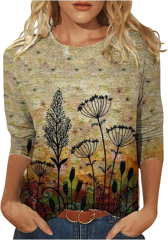 Womens Round Neck Causal Long Sleeve Tunic Tops Fashion Print Loose Soft Lightweight Blouse Oversized Sweatshirts Tops