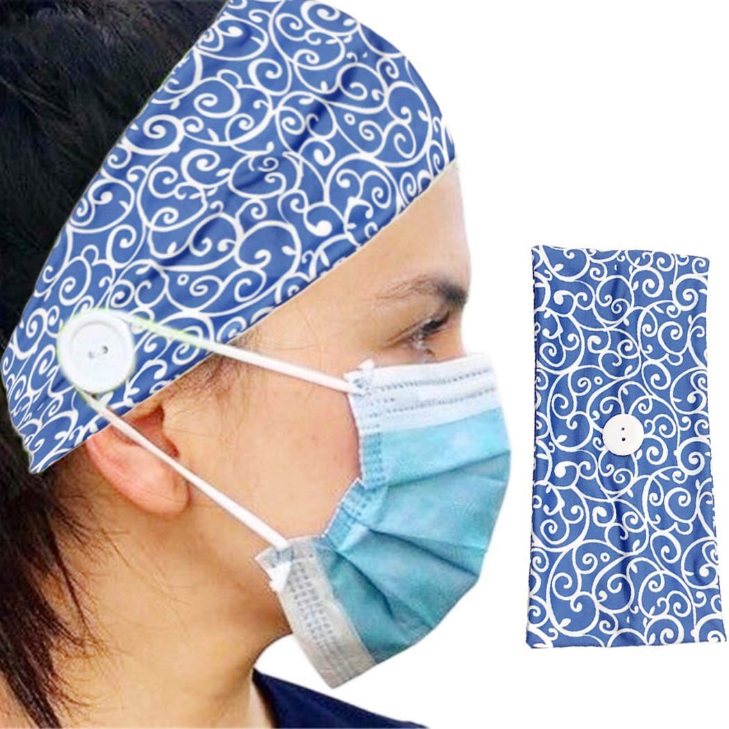 Nicute Boho Turban Headbands with Button Wide Hair Bands Outdoor Elastic Facemask Holder for Women and Girls(Blue)