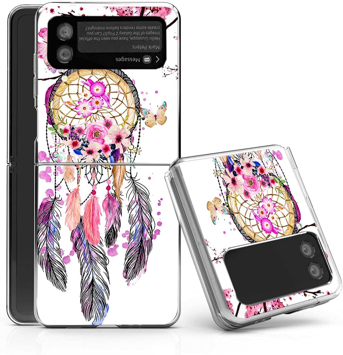 Galaxy Z Flip 3 5G Case,Bcov Dream Catcher Butterfly Anti-Scratch Solid Hard case Protective Shookproof Phone Cover for Samsung Galaxy Z Flip 3 5G