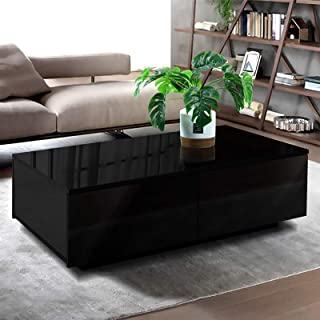 Artiss High Gloss Coffee Table Black- 95(L) x 60(W) x 31(H) cm