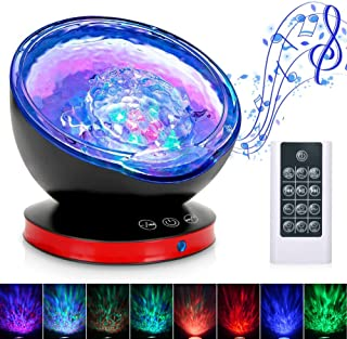 Ocean Wave Projector, Night Light Lamp with Adjustable Lightness Remote Control Timer 8 Lighting Modes Music Speaker Light Show LED Night Light Projector Lamp for Baby Kids Adult Bedroom Living Room �