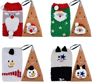 Calcetines de Navidad, 4 pares Calcetines Esponjosos Calcetines Navideños Calcetines de Invierno Calcetines para Mujer Calcetines para Adultos Cómodo Calcetines Navidad Regalos
