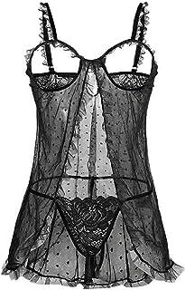 Mujer Sexy Lencería Conjunto Exposed Pecho Bodysuit Malla Perspectiva Sexy Pijama con Ojo Parche G-String