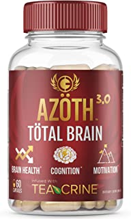 AZOTH 3.0 Total Brain Supplement - Support Peak Cognitive Performance - Optimize Brain Health & Clarity - Boost Energy & M...