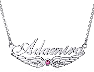 """925 Sterling Silver Personalized Name Necklace Angel Wing Necklace with Synthetic Birthstone Name Necklace Adjustable Chain 16""""-20"""" for Women"""