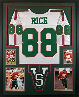 ab270ef9450 Jerry Rice Mississippi Valley State Delta Devils Signed Autograph Custom  Framed Jersey White 4 Pic Tristar