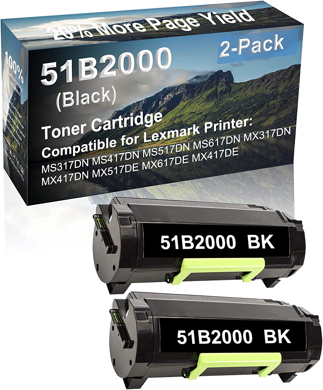 2-Pack Compatible High Yield MS617DN MX317DN MX417DN Printer Cartridge Replacement for Lexmark 51B2000 Toner Cartridge (Black)