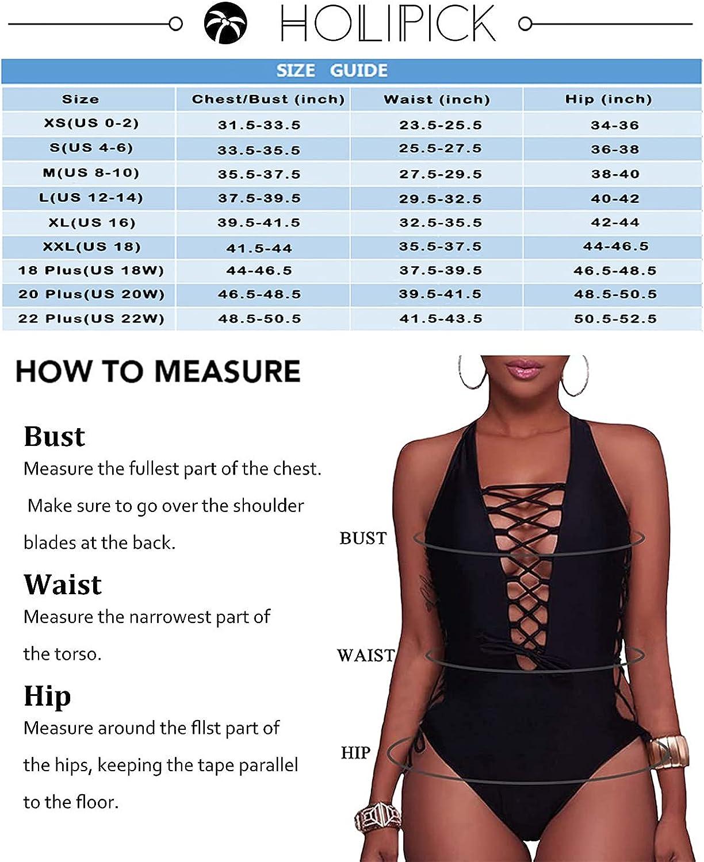 Holipick Women Sexy One Piece Swimsuits Plunge V Neck Bathing Suits Lace up Monokini Strappy Cutout Swimwear