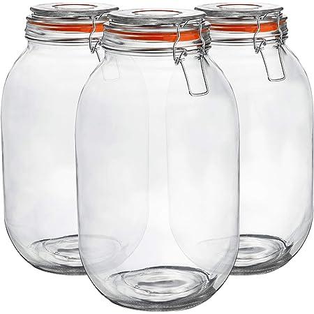 3 LITRE LARGE GLASS JAR  PRESERVE FOOD JAR INC LID-VARIOUS COLOURS BRAND NEW