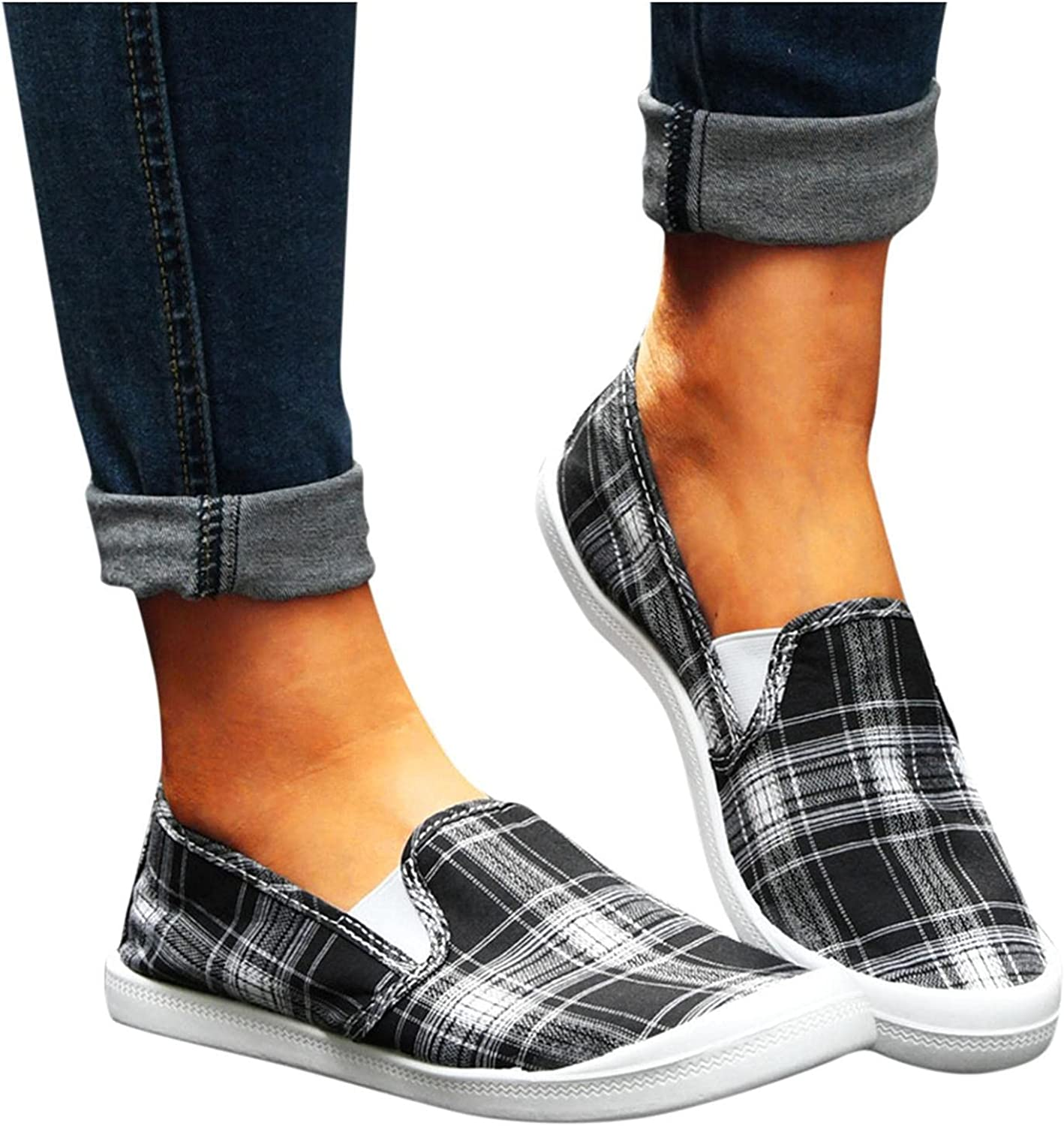 Walking Shoes for Women,Lace Up Canvas Slip on Sneakers Breathab