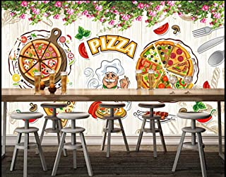 3D Large Mural Custom Wallpaper Photo Pizza Restaurant Backdrop Decoration-Creative Hand-Painted Italian Pizza Restaurant Western Restaurant Wall, 300Cmx210Cm