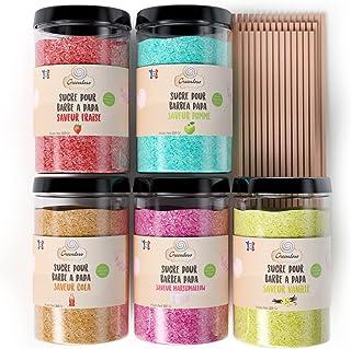 Greendoso-Sucre Barbe à Papa pour Machine (5X350 Gr) = 1,750 KG (Arômes et Colorants Naturels) Fraise-Cola-Pomme-Marshmall...
