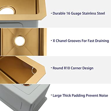 Lonsince Gold Bar Sink Undermount,Bar Prep Sink 17 X 19 Inch,Undermount Small Bar Sink,Workstation RV Kitchen Sink 16 Gauge S