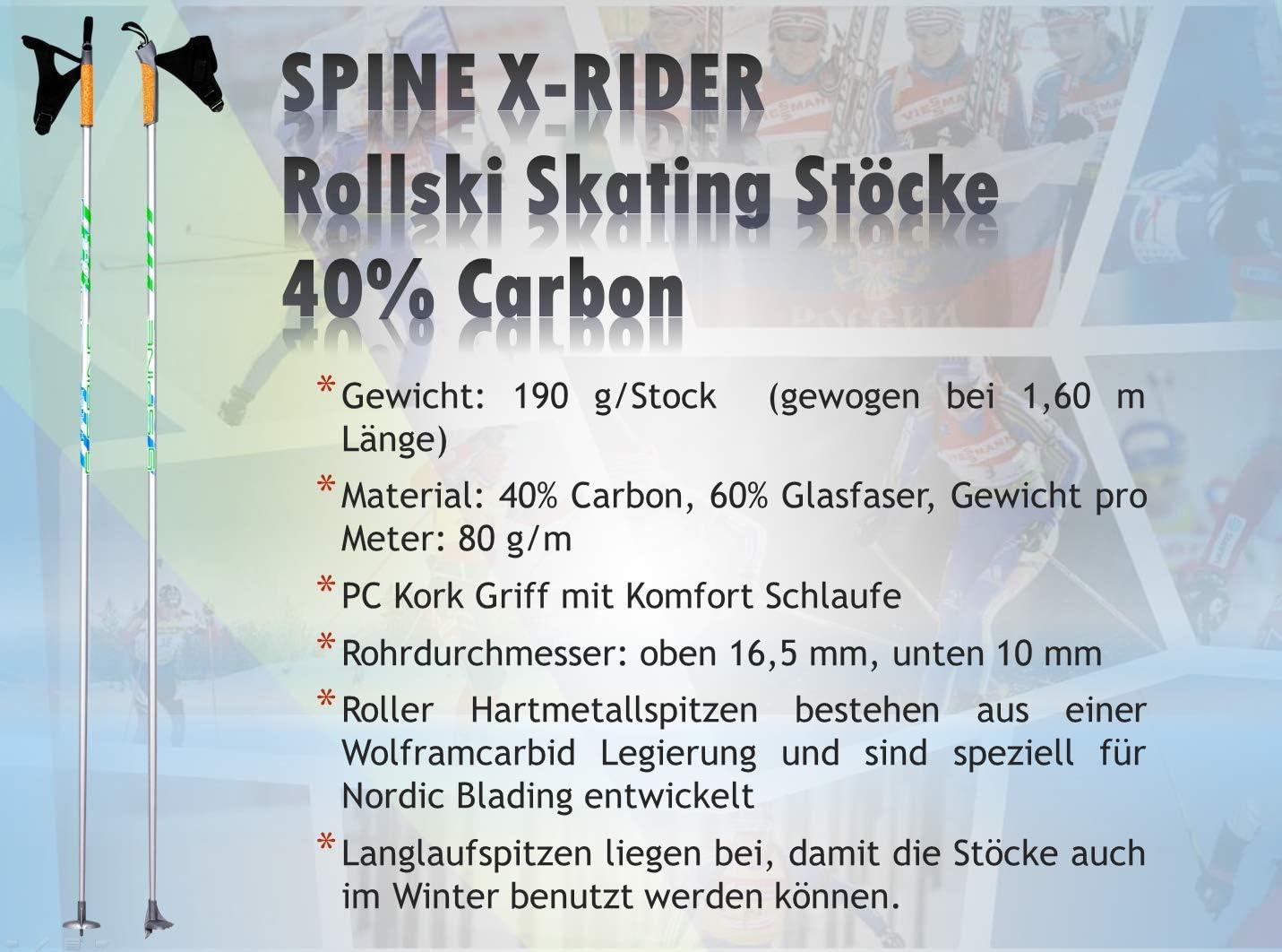 Spine X-Rider Skating Rollski St/öcke Skike Nordic Blading St/öcke mit Soft Roller D/ämpferspitzen