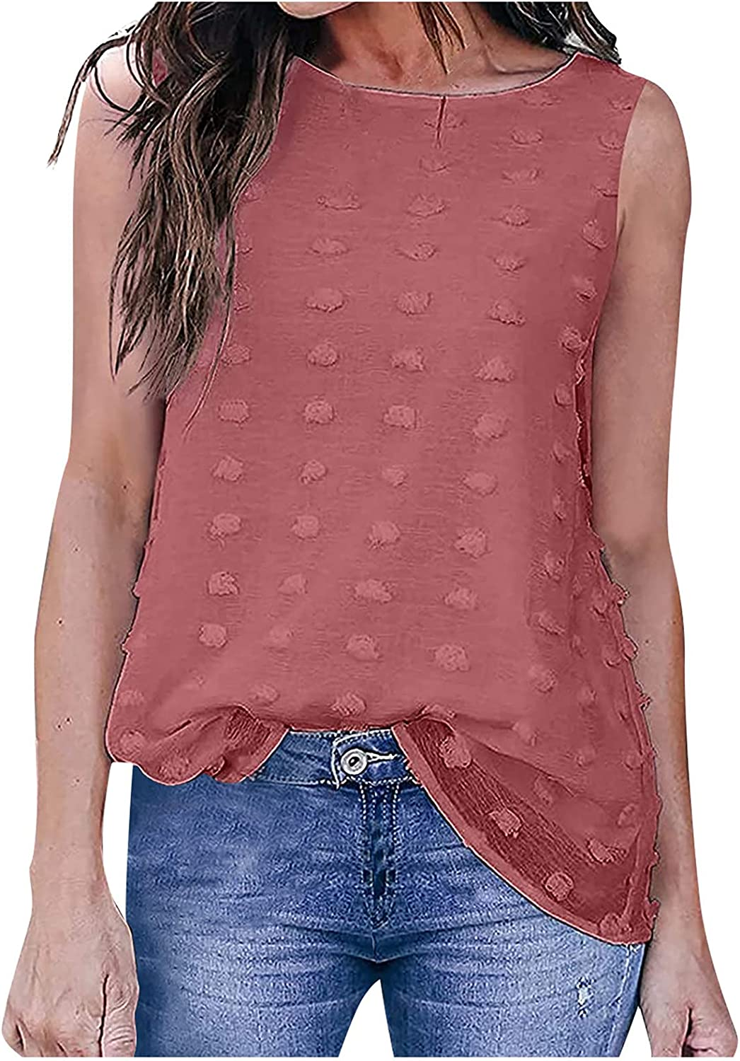 Women Fashion Sleeveless Tank Round Neck Solid Color T-Shirt Vest Top