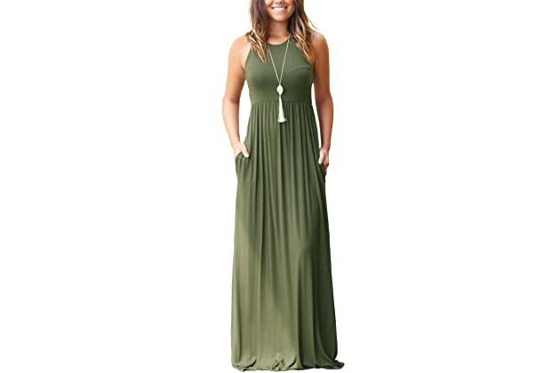 f755a0f830e GRECERELLE Women s Sleeveless Racerback and Long Sleeve Loose Plain Maxi  Dresses Casual Long Dresses with Pockets