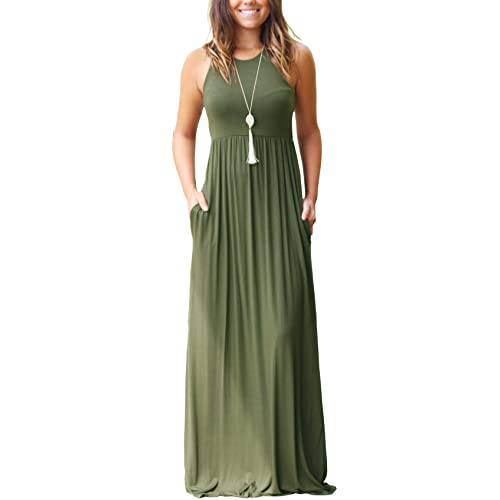 f3de8354022 GRECERELLE Women s Sleeveless Racerback and Long Sleeve Loose Plain Maxi  Dresses Casual Long Dresses with Pockets