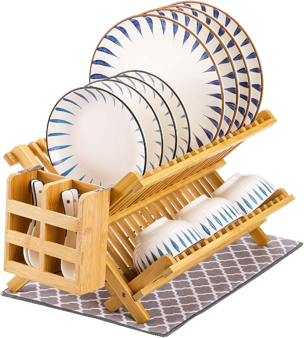 MJM Dish Rack Set Bamboo Kitchen Seattle Mall Drying R Financial sales sale Drainer