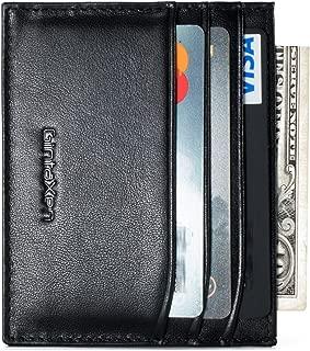 Slim Genuine Leather Credit Card Holder Front Pocket Wallet with RFID Blocking