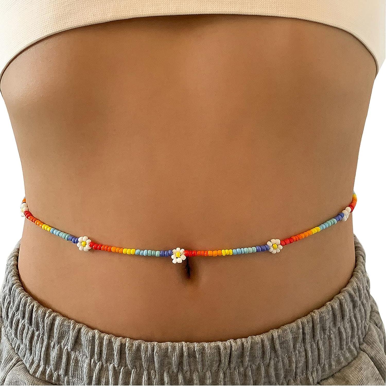 Lirgoriy Summer Boho Flower Bead Waist Chain African Bead Belly Chain Beach Bikini Body Belly Chains Elastic Jewelry for Women and Girls (Gold1)
