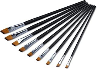 9 Piezas Juego de brochas de punta de plano oblicuo de nailo