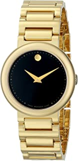 Movado Women's 0606420 Concerto Gold-Plated Stainless-Steel Black Round Dial Watch