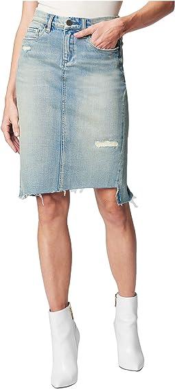 Womens Onyx Medium Blue High Waist Distressed Denim Skirt
