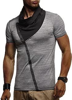 Leif Nelson Herren Sommer T-Shirt Stehkragen Slim Fit Casual Baumwolle-Anteil Cooles weißes schwarzes Männer Kurzarm-T-Shirt Hoodie-Sweatshirt-Longsleeve lang LN1020