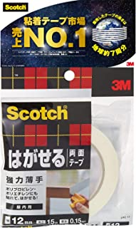 3M スコッチ はがせる両面テープ 強力 薄手 12mm×15m SRE-12
