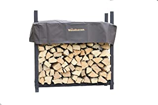 Woodhaven The 4 Foot Brown Outdoor Firewood Log Rack with Cover