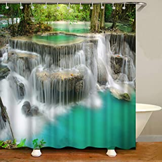 Forest Waterfall Shower Curtain Asia Thailand Jungle Tropic Plants Trees Nature Rainforest Spring Landscape Polyester Clot...