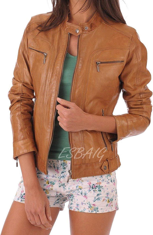 ESBAIG Womens Leather Jackets Stylish Motorcycle Bomber Biker Real Lambskin Leather Jacket for Women 507