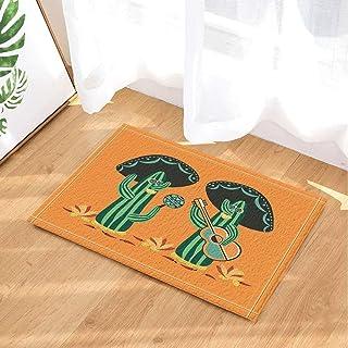 Kwboo Decoración de Plantas Naturales mexicanas del Desierto, Mariachi de Cactus con alfombras de baño para Guitarra y Maracas, tapetes Antideslizantes en el Piso de Las Puertas de Entrada