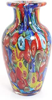 Tuumee Hand Blown Multicolor Art Glass Vase for Modern Home Decor Coffee Table Centerpieces, Great Gift Idea,6 inches High