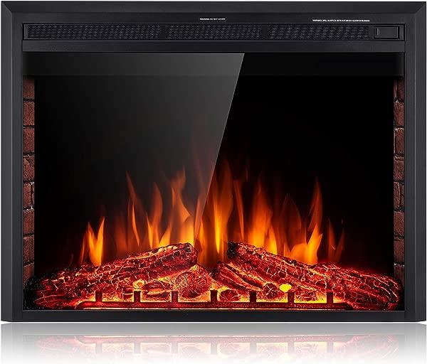 SUNLEI 36 电壁炉插入独立式嵌入式内置壁炉电加热器 LED 多色火焰 W 原木砖面板触摸屏遥控定时器 750W 1500W 黑色