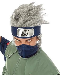 Chaks Naruto Peluca Kakashi Hatake Traje Accesorio Gris