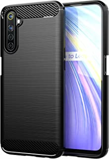 for OPPO Realme 6S Case Brushed Carbon Fiber Texture Style Ultra-thin TPU Soft rubber Anti-drop Protective Cover-Black