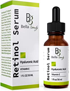Anti Aging Hyaluronic Acid and Retinol Serum 2.5% for Face with Vitamin E For Oily Acne Skin - Best Retinol Facial Moistur...