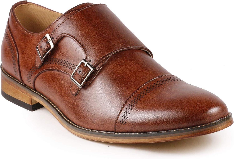 Metrocharm MC134 Men's Double Monk Strap Cap Toe Slip On Oxford Dress Shoes