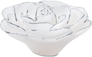 Darice White and Silver Rose Shaped Floating Candle
