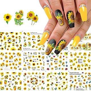 Nail Art Stickers Water Transfer Nail Decals, 12 Sheets Flower Nail Stickers Nail Art Supplies Sunflower Nail Decals Nail ...